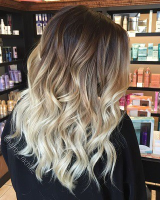 ombre hair straight medium length